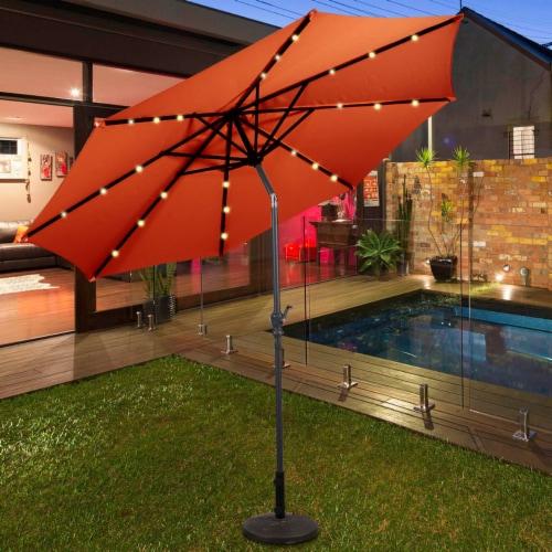 Costway 10FT Patio Solar Umbrella LED Patio Market Steel Tilt W/Crank Outdoor OrangeBlue New Perspective: front