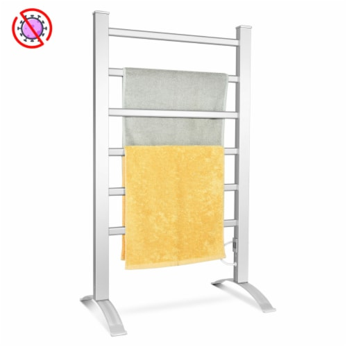 Costway Freestanding Wall Mounted Electric Towel Rail Rack Bathroom Warmer Heated Perspective: front