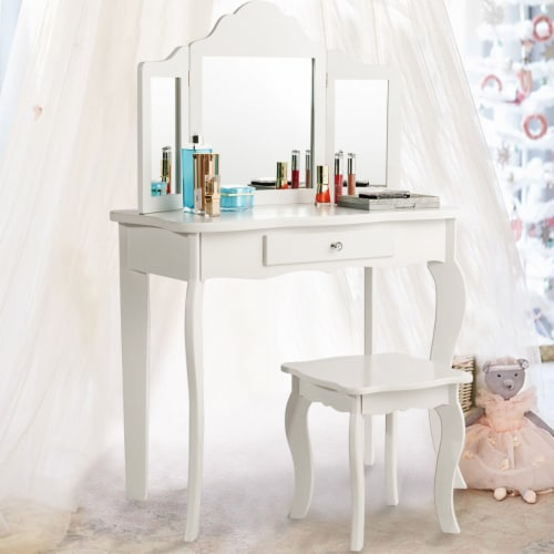 Costway Vanity Table Set Makeup Dressing Table Stool with mirror Perspective: front