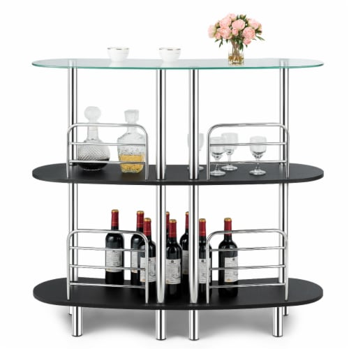 Costway Bar Table Wine Storage Home Liquor Pub Table w/Tempered Glass Top & 2 Shelves Perspective: front