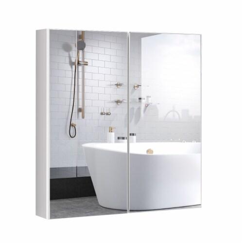 Costway Bathroom Cabinet Medicine Cabinet Wall Mount Double Door with Shelf and Mirror Perspective: front
