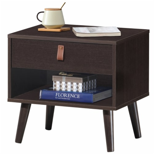 Costway Nightstand Sofa Side End Table Bedside Table Drawer Storage Perspective: front