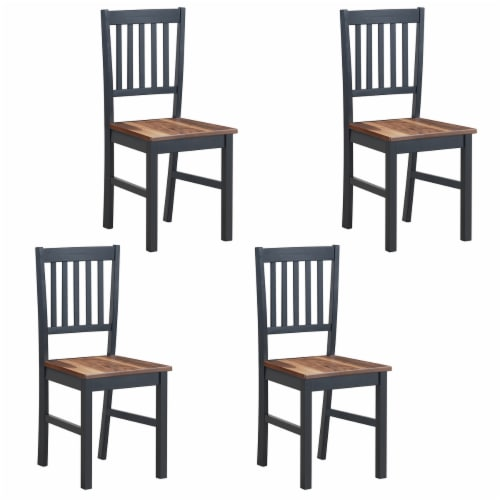 Set of 4 Dining Chair Kitchen Black Spindle Back Side Chair with Solid Wooden Legs Perspective: front