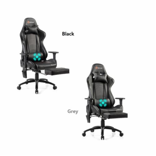 Goplus Massage Gaming Chair Adjustable Reclining Racing Chair w/Headrest&Footrest Gray\\Black Perspective: front
