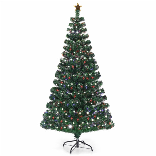 Costway Fiber Optic Pre-Lit Christmas Tree 180 Lights Top Star 5ft Perspective: front
