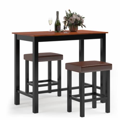 Costway 3 Piece Pub Table Set Counter Height Kitchen Breakfast Bar Dining Table W/Stools Perspective: front