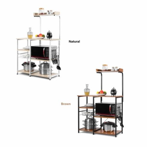 Costway 4-Tier Vintage Kitchen Baker's Rack Utility Microwave Stand w/ Basket & 5 Hooks Perspective: front