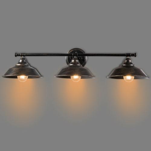 Costway Modern Industrial 3-Light Bathroom Wall Sconce Fixture Vanity/Bathroom Wall Lamp Perspective: front