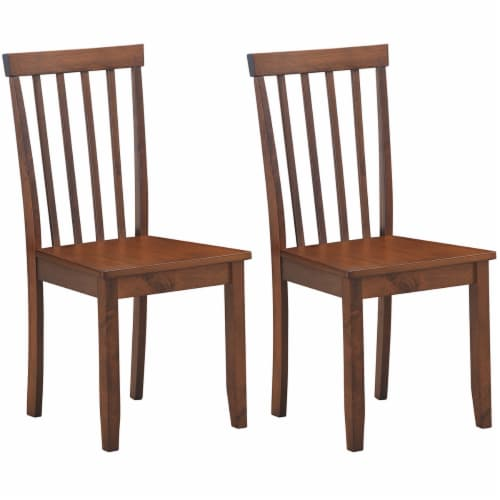 Costway Set of 2 Dining Chair Brown Kitchen Spindle Back Side Chair with Solid Wooden Legs Perspective: front