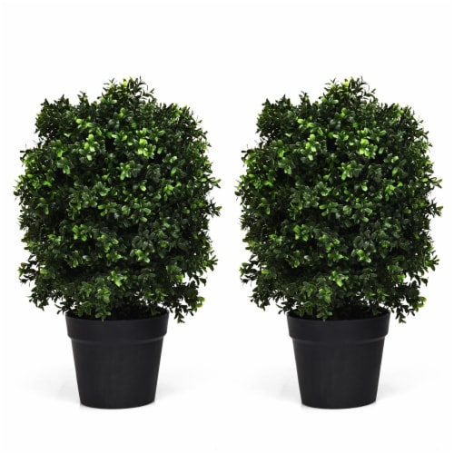 Costway 2PC 24'' Artificial Boxwood Topiary Ball Tree Office Garden Patio Desk Decoration Perspective: front