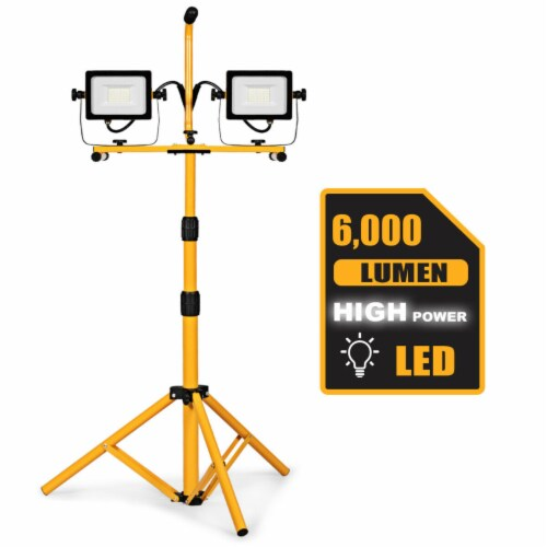 Costway 60W 6000lm Dual-Head LED Work Light w/ Adjustable Metal Tripod Stand Waterproof Perspective: front
