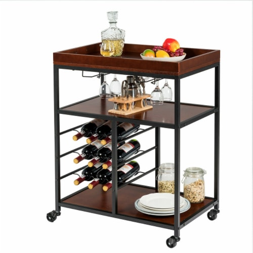 Gymax 3 Tier Storage Kitchen Trolley Utility Bar Serving Cart w/Wine Rack & Glass Holder Perspective: front