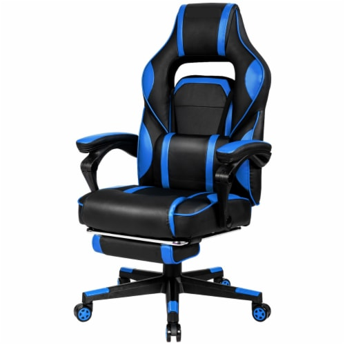 Gymax Massage Gaming Chair Recliner Racing Chair w/ Retractable Footrest Home Perspective: front