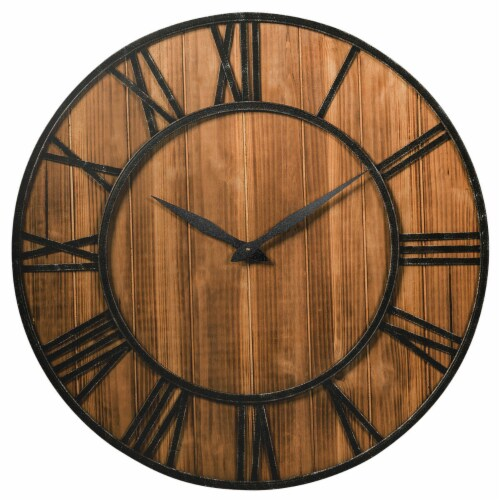Costway 30'' Round Wall Clock Decorative Wooden Clock Come With Battery Perspective: front