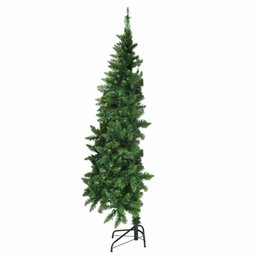 Costway 5ft Pre-lit PVC Artificial Half Christmas Tree 250 LED Lights Perspective: front