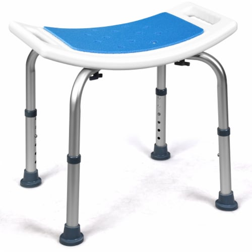 Costway Shower Bath Chair 6 Adjustable Height Bathtub Stool Bench Non-Slip Padded Seat Perspective: front