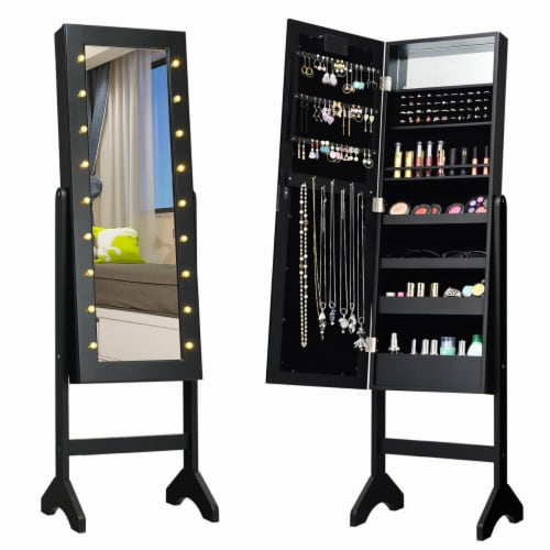 Gymax Full Length Mirror Jewelry Organizer Vanity Box w/ 18 LED Lights Perspective: front