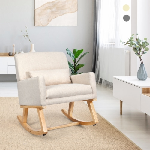 Costway Mid Century Rocking Chair Upholstered Armchair w/ Lumbar Support BeigeGray Perspective: front