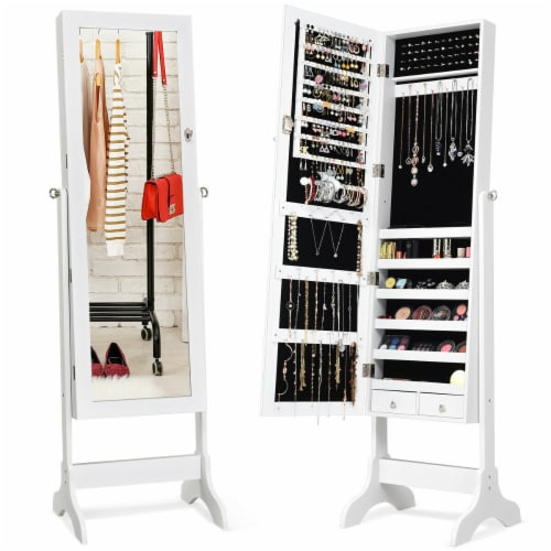 Gymax Jewelry Organizer Vanity Box w/ Full Length Mirror Black/ White Perspective: front