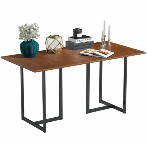 Costway 60'' Console Dining Table Rectangular Kitchen Table w/ Metal Frame and Wood Top Perspective: front