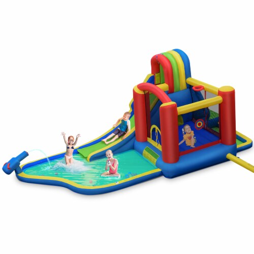 Costway Inflatable Kid Bounce House Slide Climbing Splash Pool Jumping Castle Perspective: front