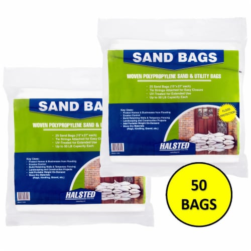 Halsted Woven Sand Bags with Tie String - 50 Pack - White Perspective: front
