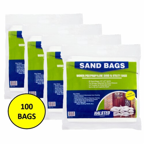 Halsted Woven Sand Bags with Tie String - 100 Pack - White Perspective: front