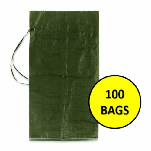 Halsted Woven Sand Bags with Tie String - 100 Pack - Green Perspective: front