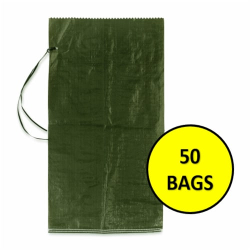 Halsted Woven Sand Bags with Tie String - 50 Pack - Green Perspective: front