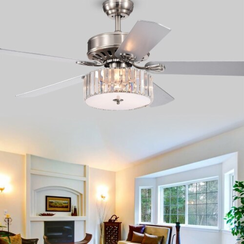 Warehouse of Tiffany CFL-8174REMO-SN 52 in. Kimalex Indoor Remote Controlled Ceiling Fan with Perspective: front