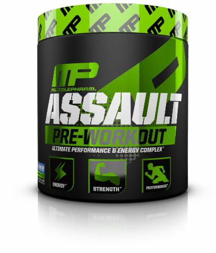 MusclePharm Assault Sport Series Blue Raspberry Pre-Workout Dietary Supplement Perspective: front