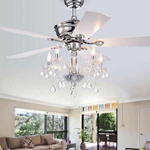 Warehouse of Tiffany CFL-8348REMO 52 in. Topher Indoor Remote Controlled Ceiling Fan with Lig Perspective: front