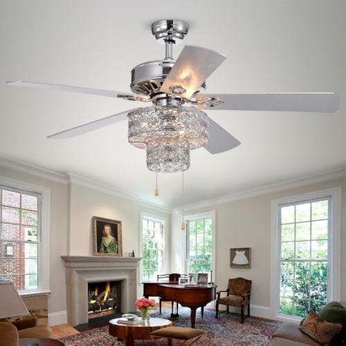 Warehouse of Tiffany CFL-8355CH 52 in. Shang 6-Light Indoor Hand Pull Chain Ceiling Fan, Chro Perspective: front