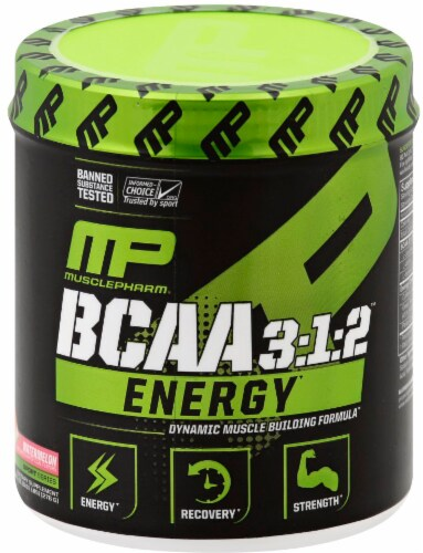 MusclePharm BCAA 3:1:2 Energy Watermelon Powder Perspective: front