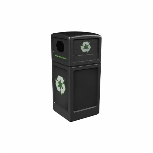 Commercial Zone Products 74610199 42 gal Green Zone Series Recycling Container, Black Perspective: front