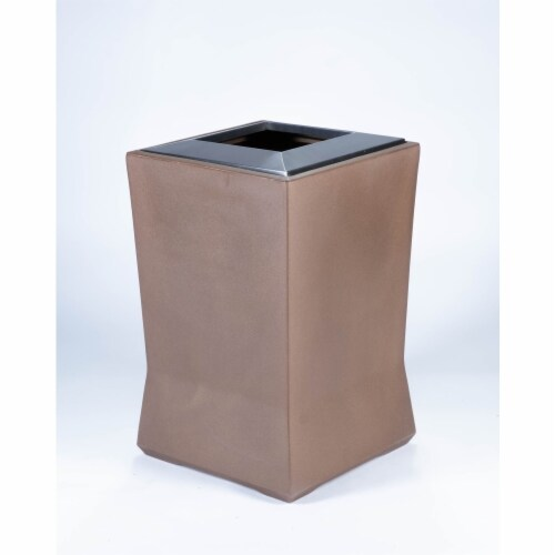 Commercial Zone 724565 20 gal Medium Waste Container with Stainless Steel Lid, Old Bronze Perspective: front