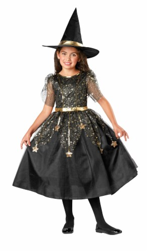 Seasons Youth Size 8-10 Twilight Witch Costume - Black/Gold Perspective: front
