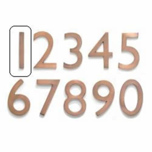 Solid Cast Brass 4 inch Floating House Number Antique Copper ''1'' Perspective: front