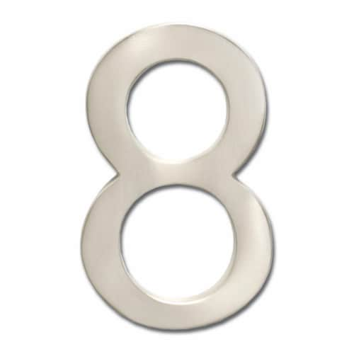3582SN Number 8 Solid Cast Brass 4 inch Floating House Number Satin Nickel ''8'' Perspective: front
