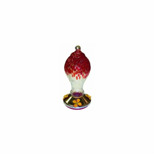 Textured Glass Hummingbird Feeder With Metal Base Red Perspective: front