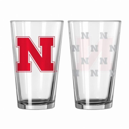Nebraska Cornhuskers Satin Etch Pint Glass Set Perspective: front
