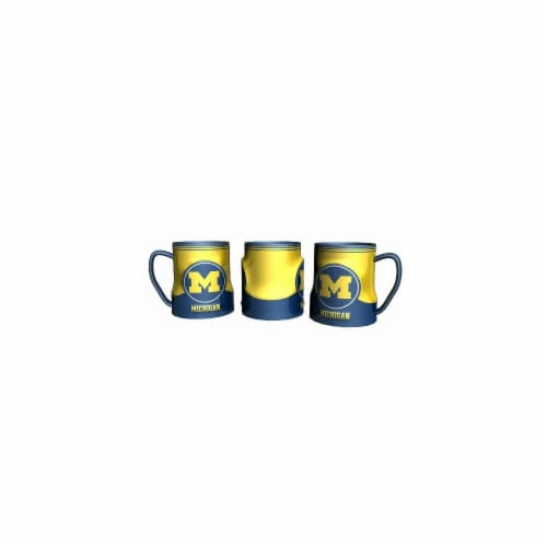 Michigan Wolverines Coffee Mug - 18oz Game Time (New Handle) Perspective: front