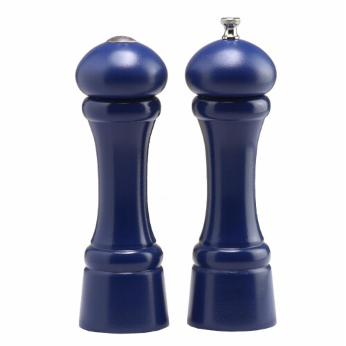 0 8 in. Cobalt Blue Pepper Mill and Salt Shaker Set Perspective: front
