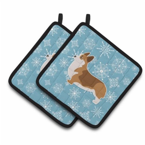 Winter Snowflake Corgi Pair of Pot Holders Perspective: front