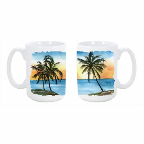 Palm Tree Dishwasher Safe Microwavable Ceramic Coffee Mug 15 oz. Perspective: front