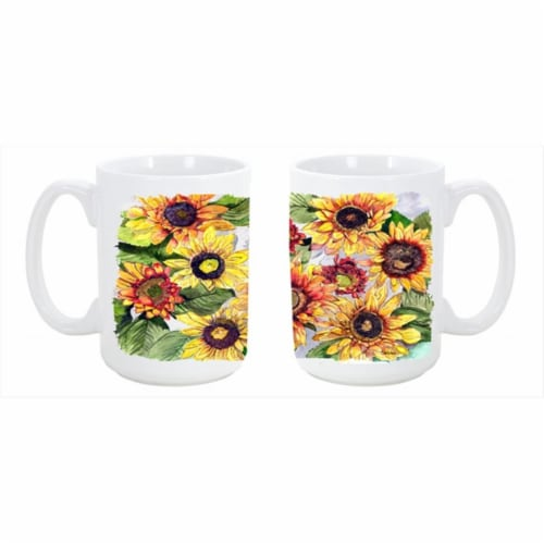 Sunflowers Dishwasher Safe Microwavable Ceramic Coffee Mug 15 oz. Perspective: front