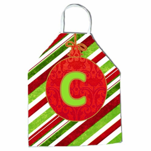 Christmas Oranment Holiday Initial Letter C Apron Perspective: front
