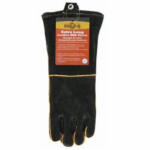 Long Leather Bbq Gloves Perspective: front
