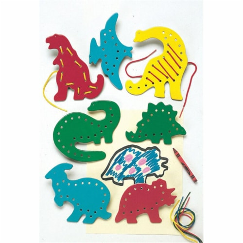 Lacing & Tracing Dinosaurs-7/Pk Ages 3-7 Perspective: front
