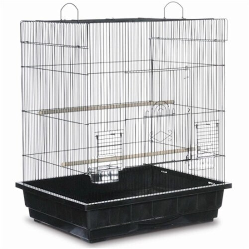 PP-25212-B Square Roof Parakeet Cage - Black Perspective: front